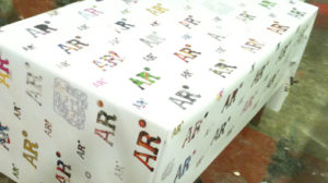 Banner used as a table cover