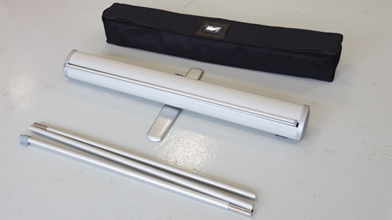The contents of a roller banner bag - roller banner hardware and poles