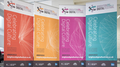 Four roller banner stands on display
