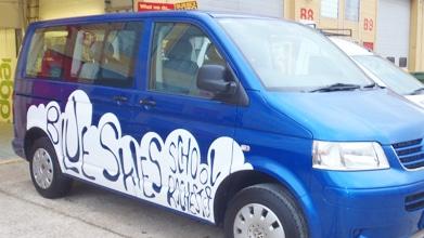 blue skies school blue vw transporter white vinyl vehicle graphic