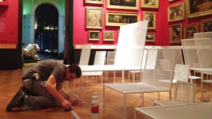 Installing floor graphics at the V&A museum