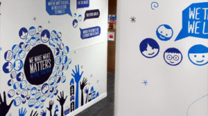 Blue wall graphics for Tescos offices