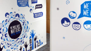 Contour cut wall graphics for tescos