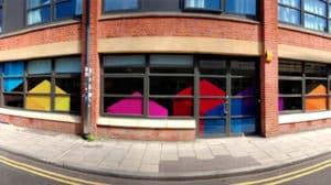 Colourful contour cut window graphics