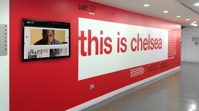 Large printed wall graphic for university interior this is chelsea white wall graphic custom