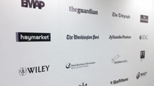 A combination of vinyl and contour cut logos for a office wall