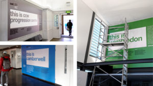 Printed wall graphics for a university