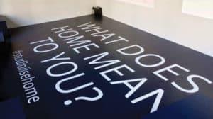White vinyl floor graphics for an exhibition