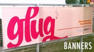 glug pink vinyl banner custom