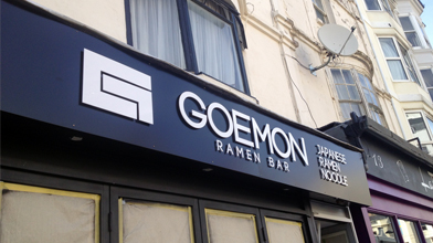 geomon ramen bar raised perspex signage custom