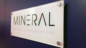 mineral creative communications raised perspex signage custom