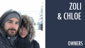 zoli & chloe owners couple snowing jackets beard