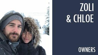 zoli & chloe owners couple snowing jackets beard